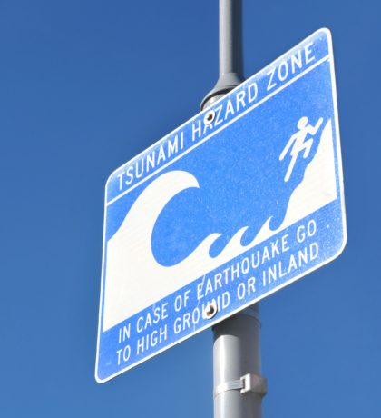 Tsunami hazard zone warning sign on blue sky