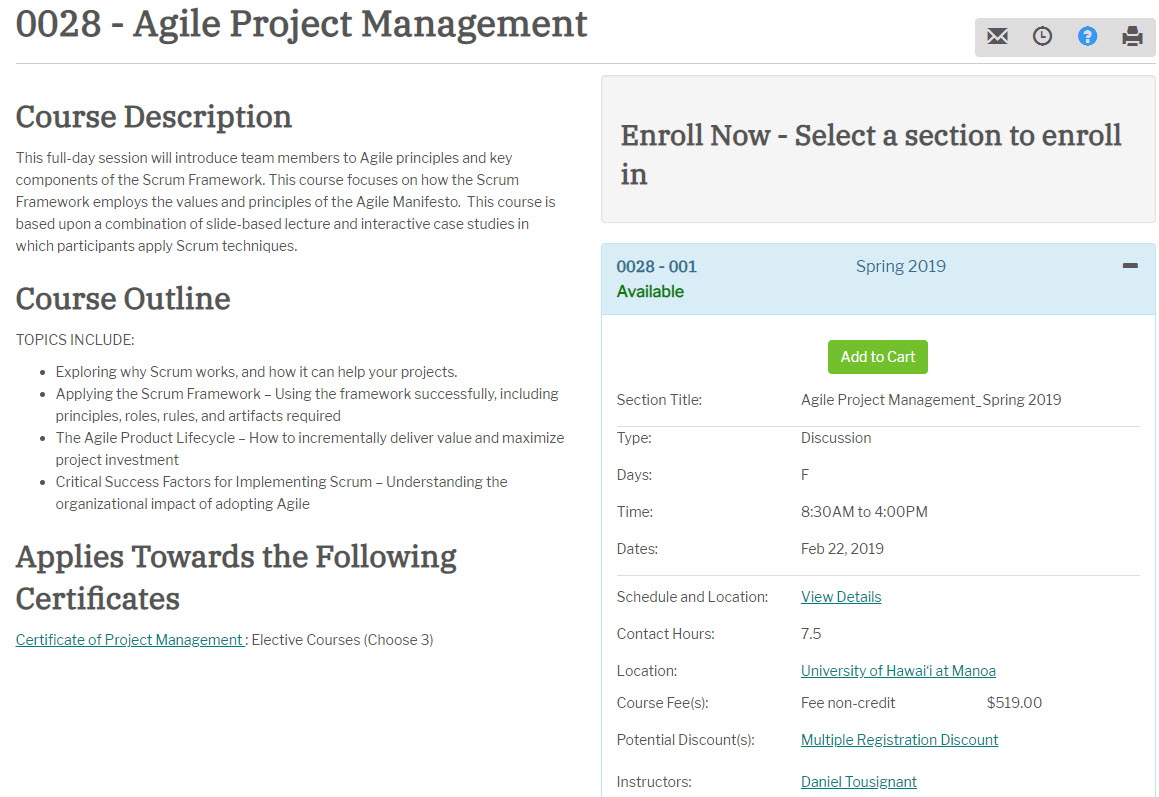 Project Management Certificate Agile Project Management Honolulu