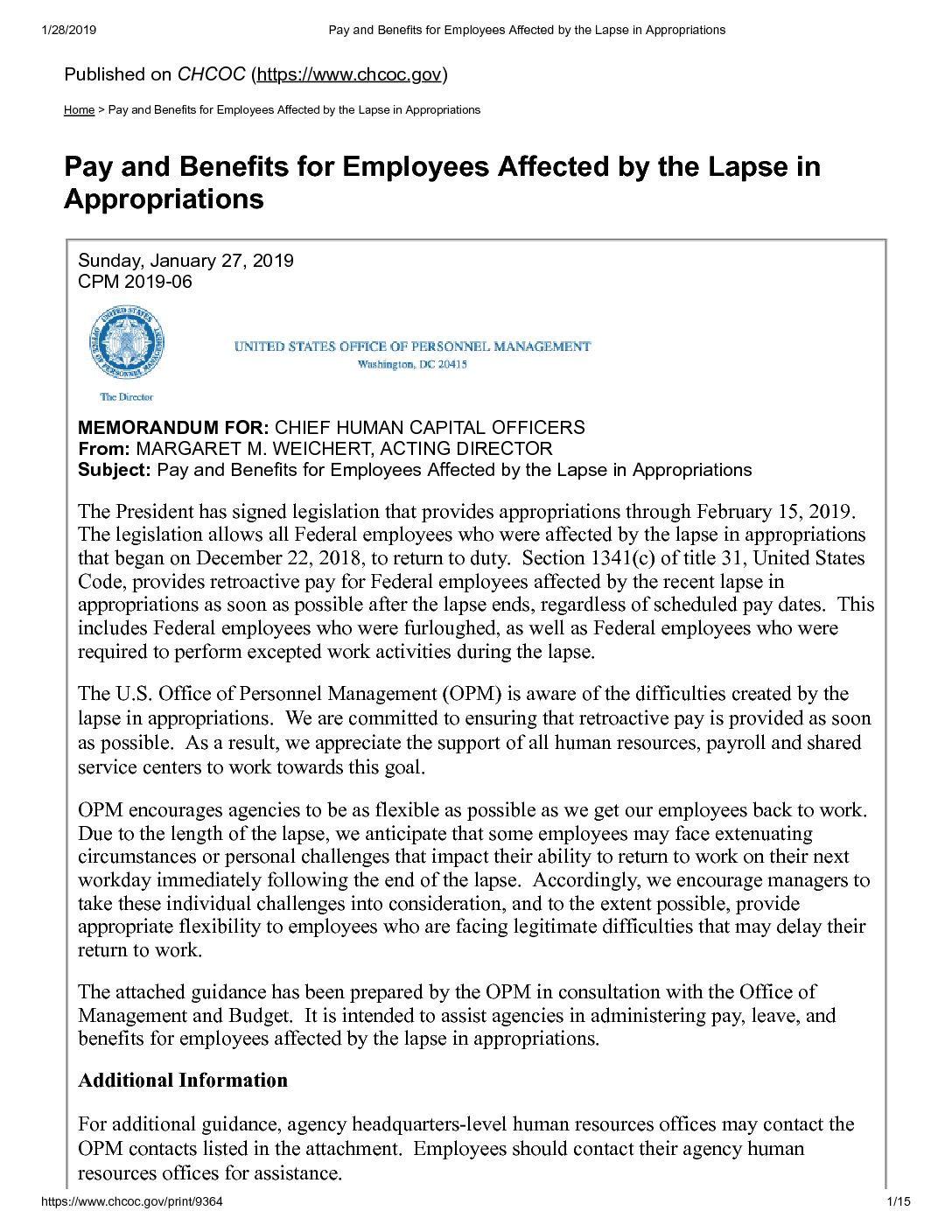 Pay and Benefits for Employees Affected by the Lapse in Appropriations